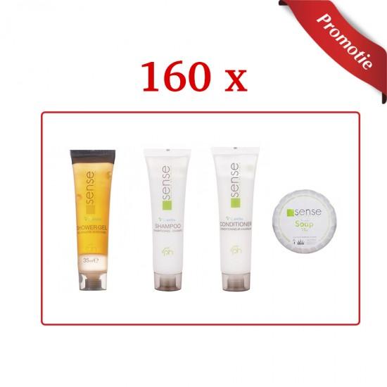 Pachet 160 buc cosmetice hoteliere: gel de dus, sampon, balsam si 150 x sapun