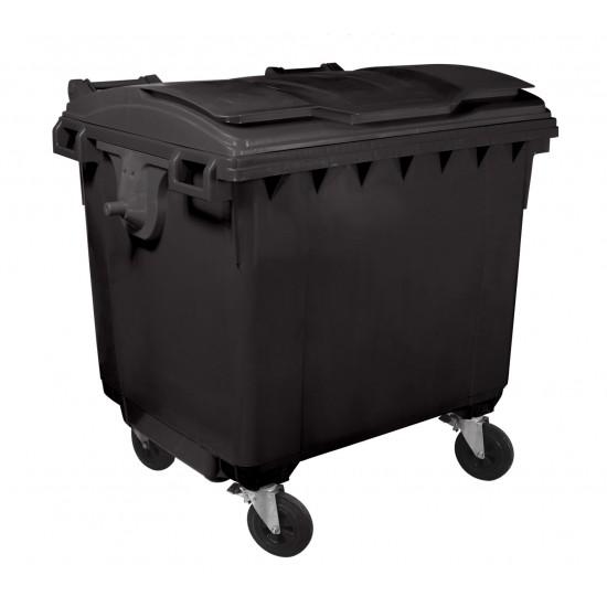 Container HDPE CLF 1100L cu capac plat negru - Transport inclus