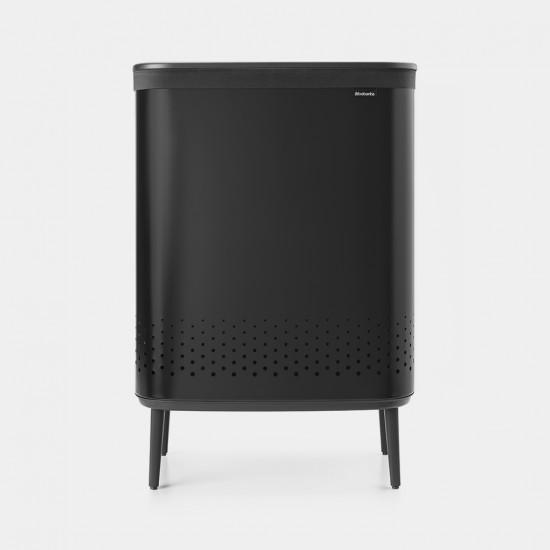 Cos rufe Bo Laundry Bin Hi, 2 x 45L, Capac plastic - negru mat