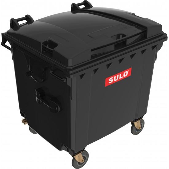 Eurocontainer din material plastic 1100 l negru cu capac plat MEVATEC - Transport Inclus