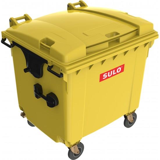 Eurocontainer din material plastic 1100 l galben cu capac plat MEVATEC - Transport Inclus
