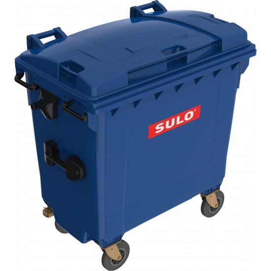 Eurocontainer din material plastic 770 l albastru cu capac plat MEVATEC - Transport Inclus