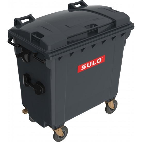 Eurocontainer din material plastic 770 l negru cu capac plat MEVATEC - Transport Inclus