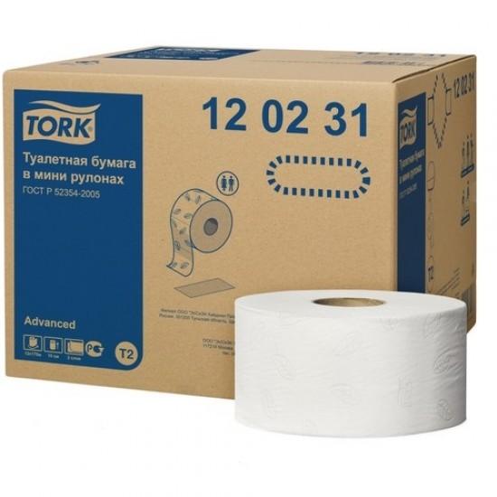 Hartie igienica mini jumbo Advanced Tork_ 2 pliuri, 170 metri