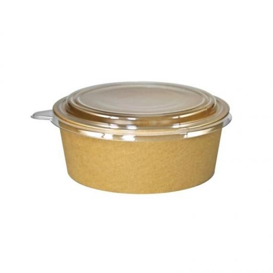 Caserola salata din carton KRAFT, capac transparent, 750 cc, 50 buc/set