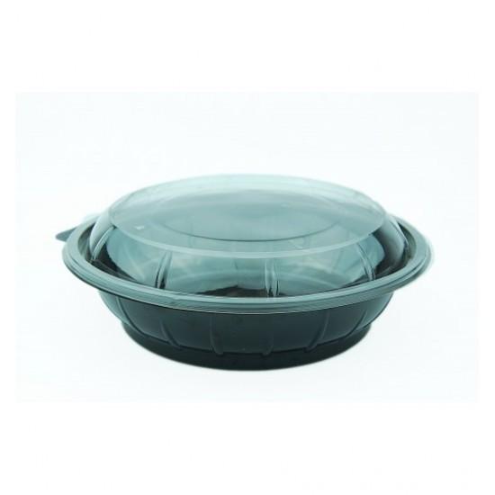 Caserola salata rotunda neagra, din PET, capac transparent, 1000 cc, 50 buc/set
