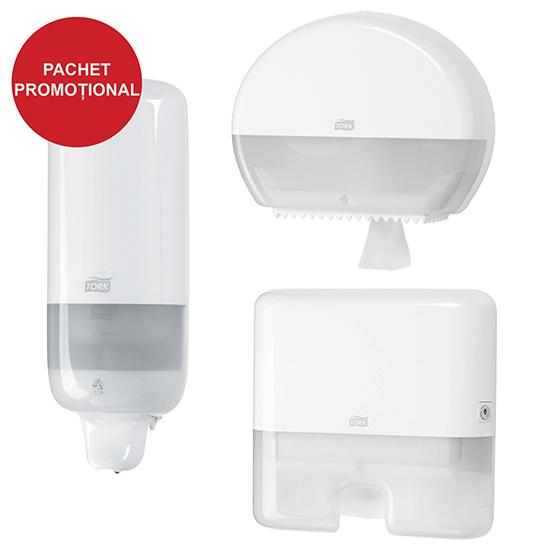 Pachet promotional Tork Dozator sapun, Dispenser hartie igienica mini Jumbo, Dispenser servetele Xpress mini