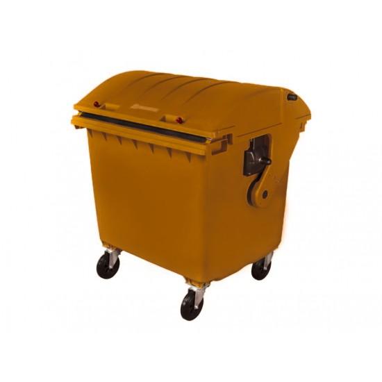 Container HDPE CLE 1100L cu capac rotund maro - Transport inclus