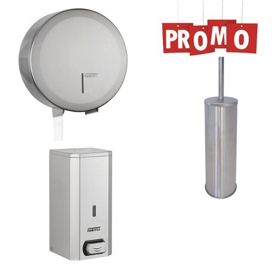 Pachet dozator de sapun, dispenser hartie igienica si perie WC