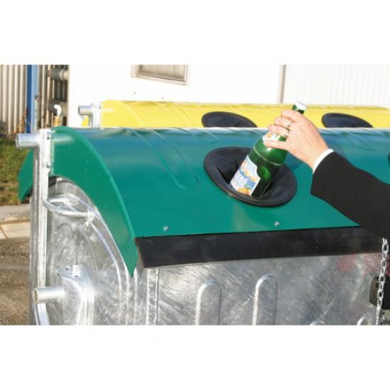 Eurocontainer zincat 1100 l - capac verde, colectare sticla - Transport inclus