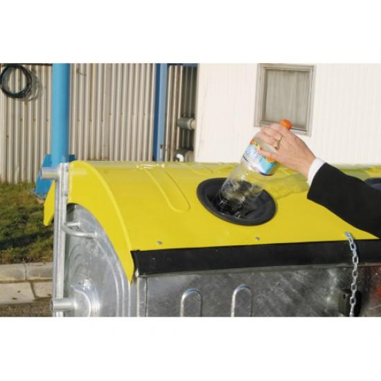 Eurocontainer zincat 1100 l - capac galben, colectare plastic - Transport inclus