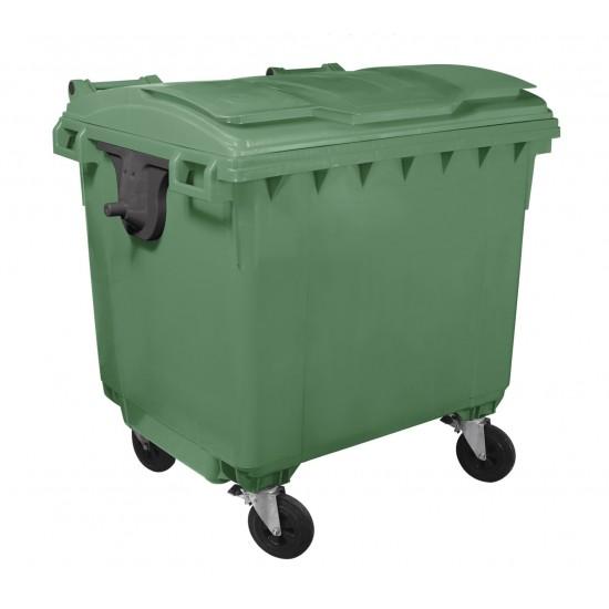 Container HDPE CLF 1100L cu capac plat verde - Transport inclus