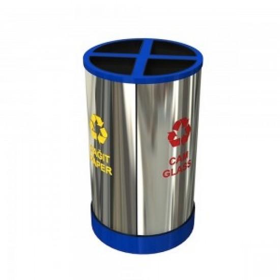 HELSINKI A Cos de reciclare compact cu design modular din otel inoxidabil