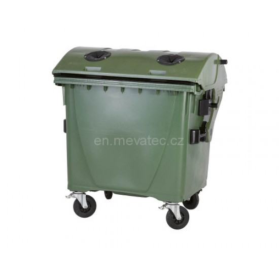 Eurocontainer din material plastic 1100 l cu capac rotund, culoare verde, cu inchizatoare pentru capac - colectare sticla MEVATEC - Transport Inclus