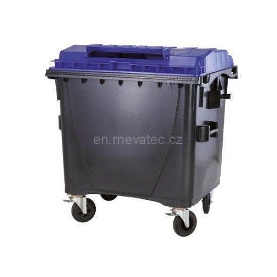 Eurocontainer din material plastic 1100 l cu capac plat, culoare albastru, cu inchizatoare pentru capac - colectare hartie MEVATEC - Transport Inclus