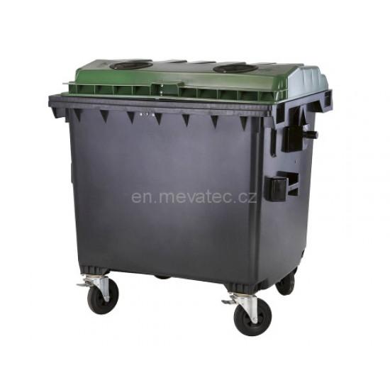 Eurocontainer din material plastic 1100 l cu capac plat, culoare verde, fara inchizatoare - colectare sticla MEVATEC - Transport Inclus