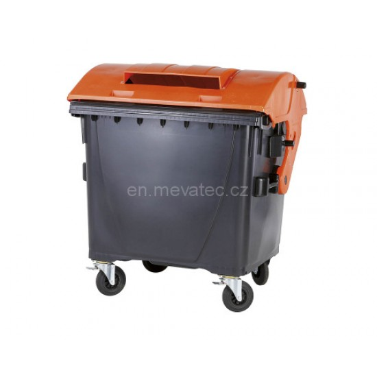 Eurocontainer din material plastic 1100 l cu capac rotund, cu inchizatoare pentru capac - colectare ambalaje MEVATEC - Transport Inclus