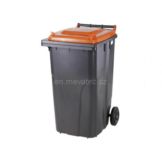 Europubela din material plastic,240 l culoare neagra cu capac portocaliu MEVATEC - Transport inclus