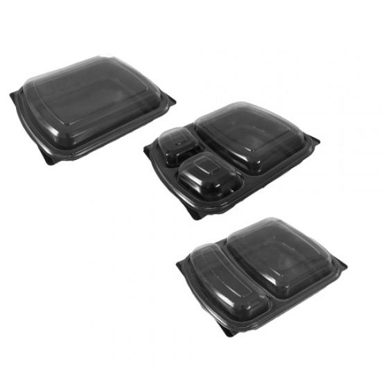 Caserola termo neagra - 2 compartimente - 200 buc/set