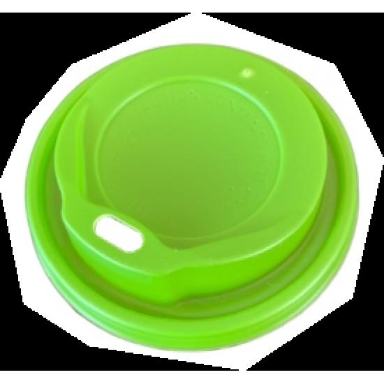 Capace plastic verzi - capac pahar alb 8 / 12 oz - 100 buc.