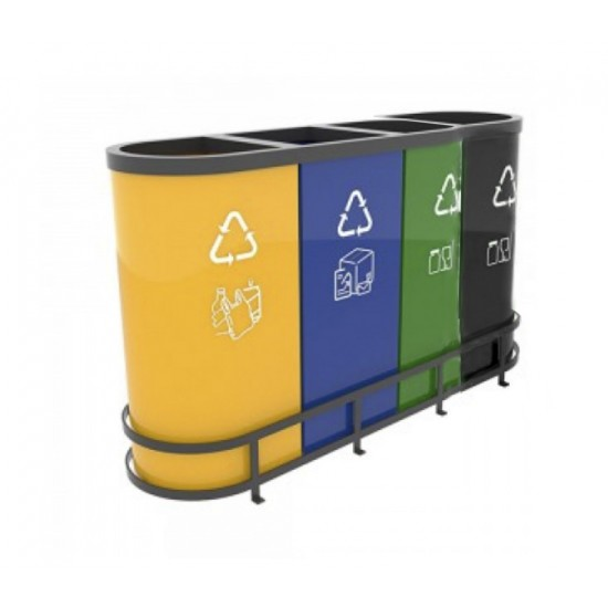 MALMO B Best-seller set cosuri de reciclare din metal ultra rezistent, 80L/recipient, 4 recipiente