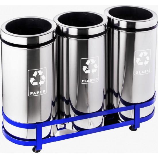 Set 3 cosuri colectare selectiva din inox, 45L/recipient