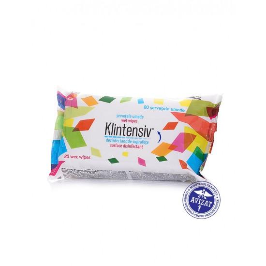 KLINTENSIV® – Servetele umede dezinfectante pentru suprafete, 80 buc