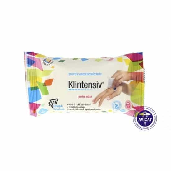 KLINTENSIV® – Servetele umede dezinfectante pentru maini, 15 buc