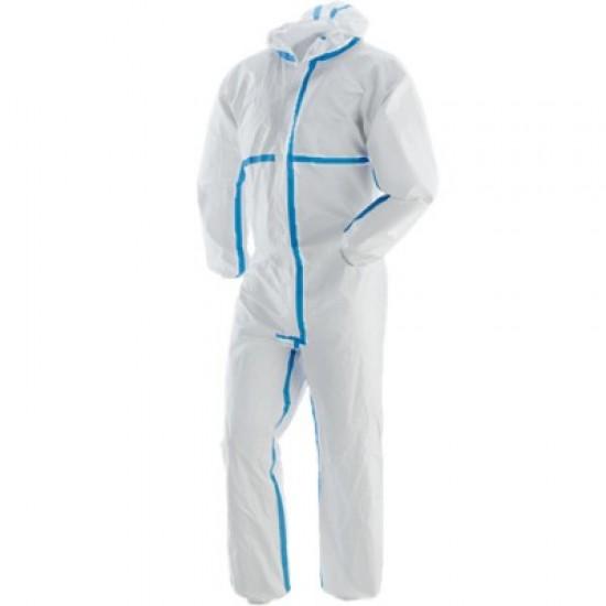 Combinezon protectie, laminat, cu banda, steril alb, ambalat individual, 55-60 gr/mp