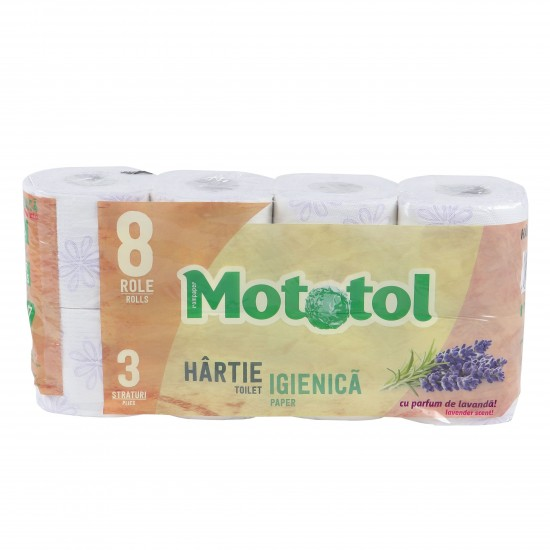 Hartie igienica 3 straturi, pachet 8 role Mototol DeLuxe, 18m