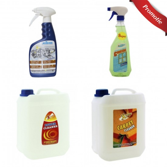 Pachet detergenti auto pentru geamuri, tapiterii, piele si carpete